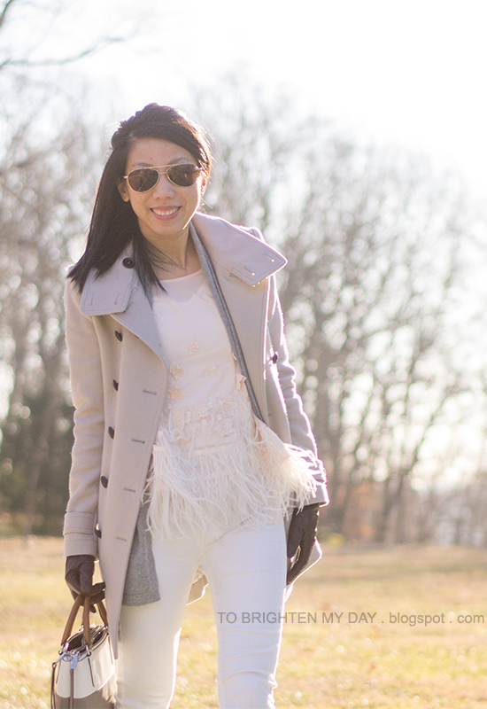 gray coat, gray open cardigan, feathered top, white jeans