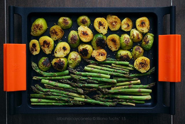 Roasted asparagus and brussel sprouts with sesame