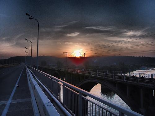 bridge sunset ukraine kiev dnepr