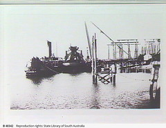 Suction & bucket dredges alongside the wharf at Poole & Steel, Osborne. - Photograph courtesy of the State Library of South Australia
