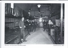 U. S. Independence Missouri - Haberdashery in Muchlebach Hotel In Kansas City - Truman at front left.