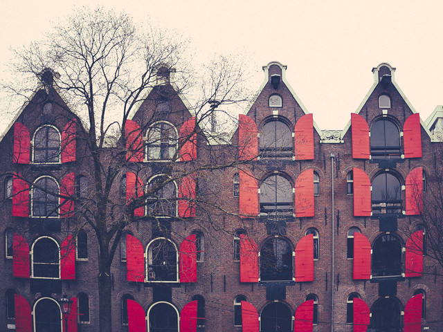 amsterdam, building, red, symmetry