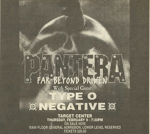 02/09/95 Pantera/ Type O Negative @ Target Center, Minneapolis, MN