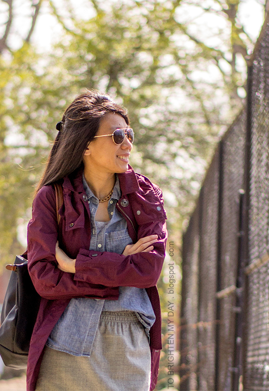 burgundy jacket, chambray shirt, gray wool skirt