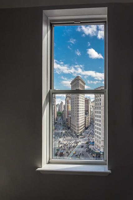 The Flatiron Buiding through the window