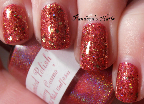 Shimmer Polish Rochelle over Enchanted Polish Cranberry Cosmos 1