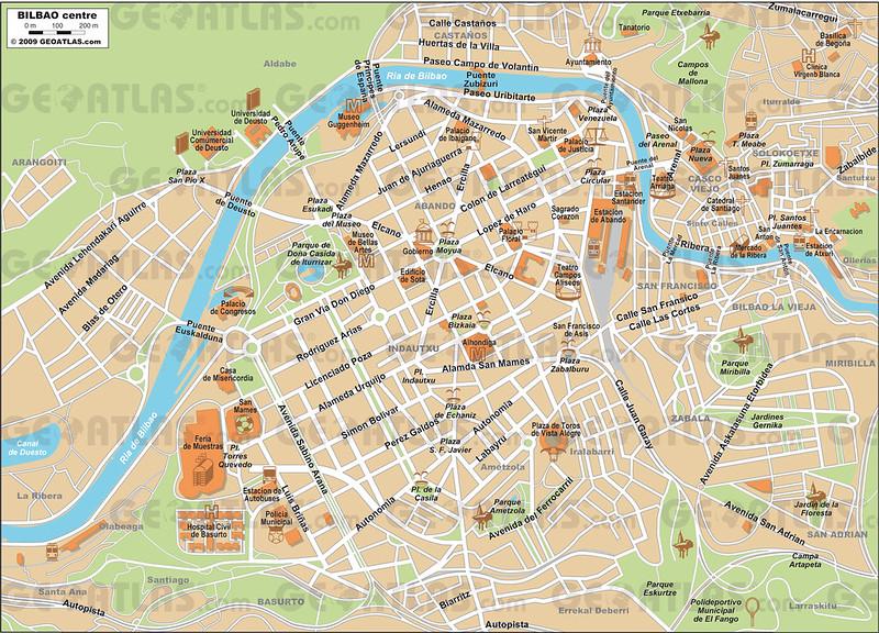 Mapa do centro de Bilbau