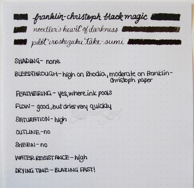 Franklin-Christoph Black Magic Writing Fluid Writing Sample