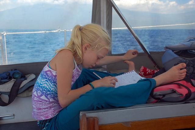 Writing in her journal