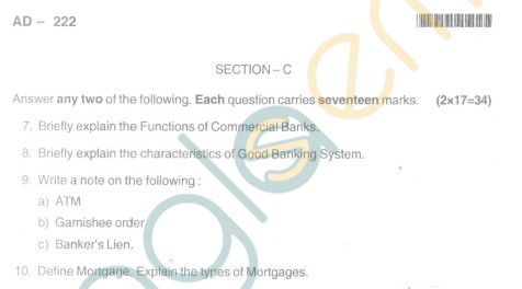 Bangalore University Question Paper Oct 2012III Year BBM - Business Management Paper II Banking Theory and Practice