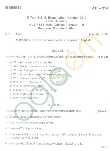 Bangalore University Question Paper Oct 2012II Year BBM - Business Management Paper II Business Communication