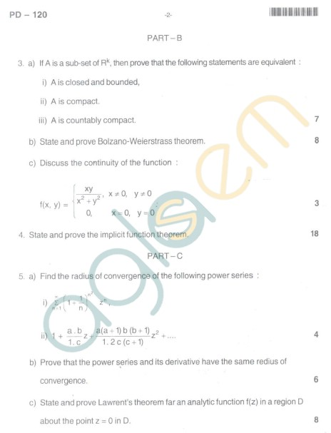Bangalore University Question Paper Oct 2012: I Year M.Sc. - Mathematics Real And Complex Analysis