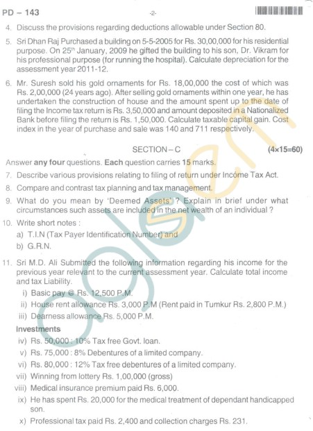 Bangalore University Question Paper Oct 2012 II Year M.Com. - Commerce AT - 2.7 : Direct Taxes