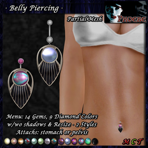 *P* Orion Belly Piercings ~14 Gems~ (P-MESH) v2