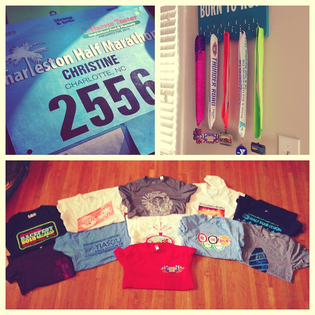 race bib, medals, and shirts