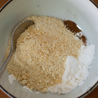 mixing ground almond with flour