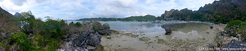 Panoramic shot when I went up to one of the rocks of Yakusan Beach