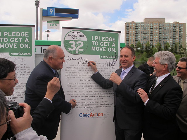 Markham Mayor Frank Scarpitti and Vaughan Mayor Maurizio Bevilacqua sign CivicAction's Your32 Pledge to Get a Move On