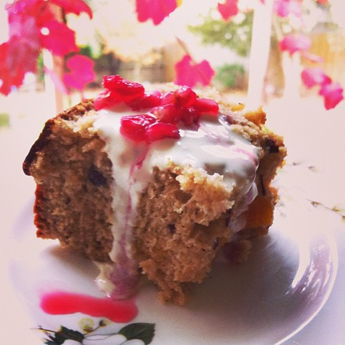 Tuesday. Baked a date and apricot loaf with rice malt and pomegranate syrup.