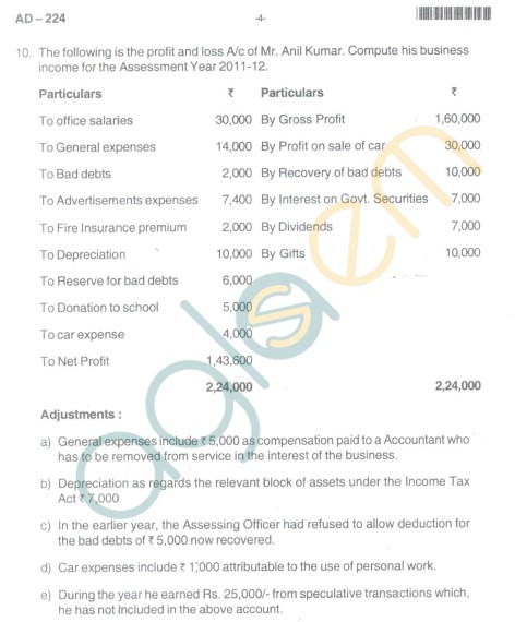 Bangalore University Question Paper Oct 2012 III Year BBM - Business Management Income Tax(PaperIV)