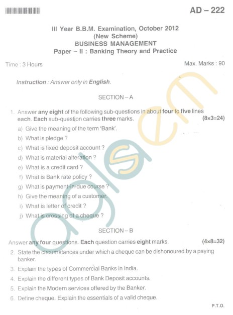Bangalore University Question Paper Oct 2012 III Year BBM - Business Management Paper II Banking Theory and Practice