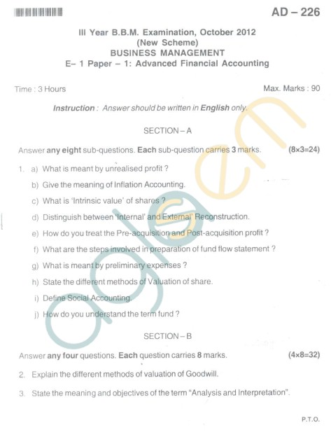 Bangalore University Question Paper Oct 2012 III Year BBM - Business Management Advanced Financial Accounting
