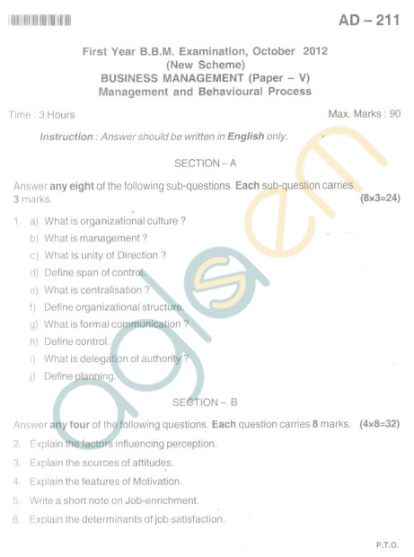 Bangalore University Question Paper Oct 2012 I Year BBM - Business Management-Paper V