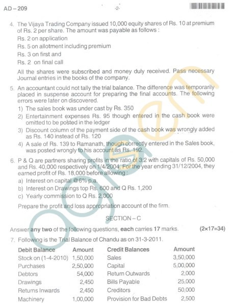 Bangalore University Question Paper Oct 2012 I Year BBM - Business Management Paper III : Finanacial Accounting
