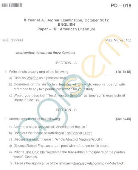 Bangalore University Question Paper Oct 2012: II Year M.A. - English Paper IX American Literature
