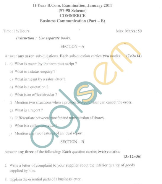 Bangalore University Question Paper January 2011 II Year B.Com. Examination - Commerce, Business Comunication (Part-B)