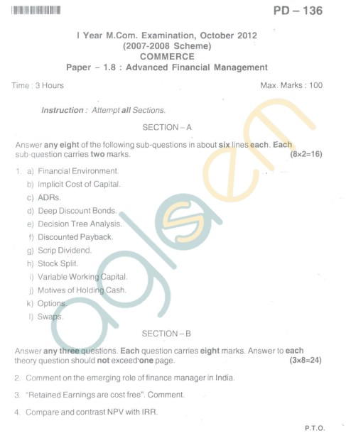 Bangalore University Question Paper Oct 2012I Year M.Com. - Commerce Advanced Financial Management