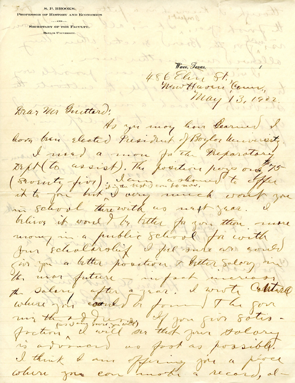 Samuel Palmer Brooks to Francis Guittard, 1902