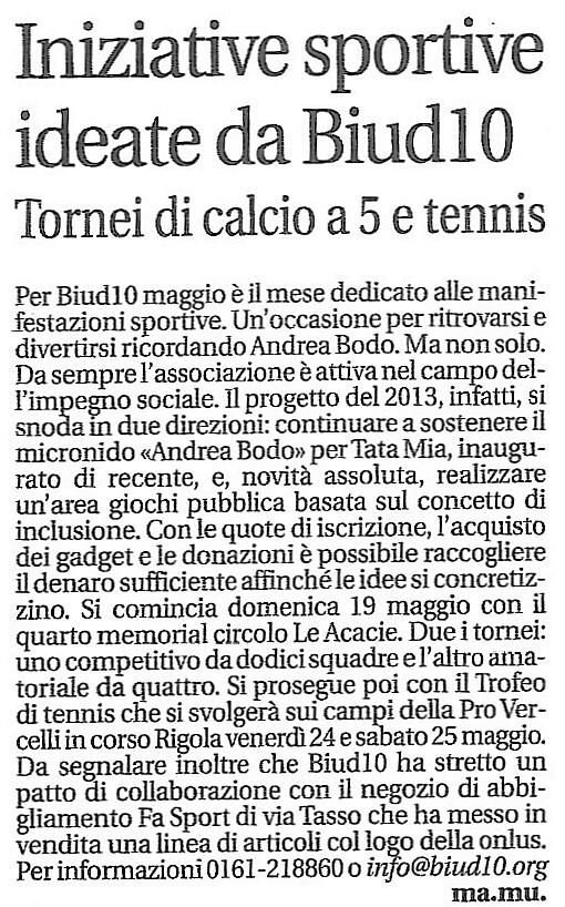 Articolo La Sesia 14 mag 2013