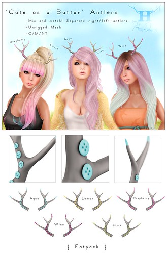 Cute as a Button Antlers @ The Boutique (The Liaison Collaborative) by Half-Deer (Halogen Magic)