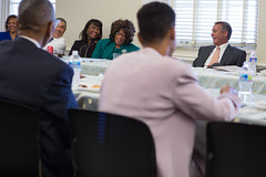 Speaker John Boehner takes part in the Congressional Black Caucus� weekly meeting.  May 15, 2013. (Official Photo by Bryant Avondoglio)  --- This official Speaker of the House photograph is being made available only for publication by news organizations and/or for personal use printing by the subject(s) of the photograph. The photograph may not be manipulated in any way and may not be used in commercial or political materials, advertisements, emails, products, promotions that in any way suggests approval or endorsement of the Speaker of the House or any Member of Congress.