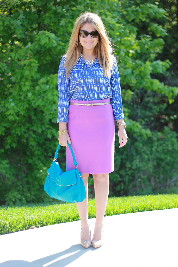 ikat blouse purple pencil skirt spring work outfit
