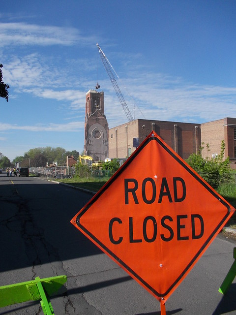 St. Patrick's Church, Watervliet, tear-down of bell tower