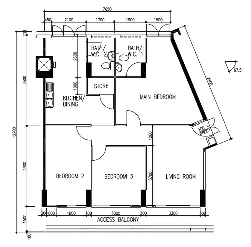 Original floor plan for flat