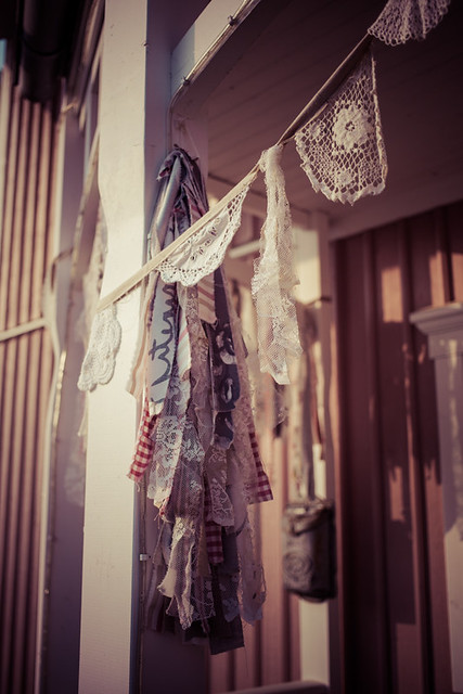 Vintage Doily Bunting on Porch
