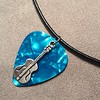 Guitar on Turquoise Pearl Guitar Pick Necklace