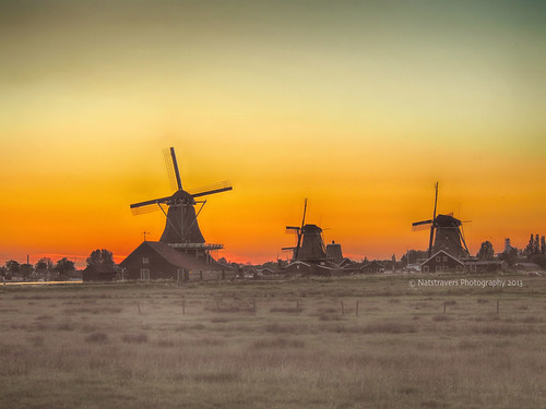 Sunset at The Zaanse Schans by Nathalie Stravers