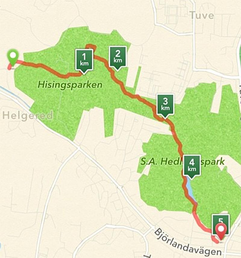fem kilometer