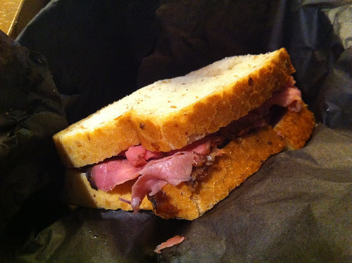 Montreal-style smoked meat sandwich