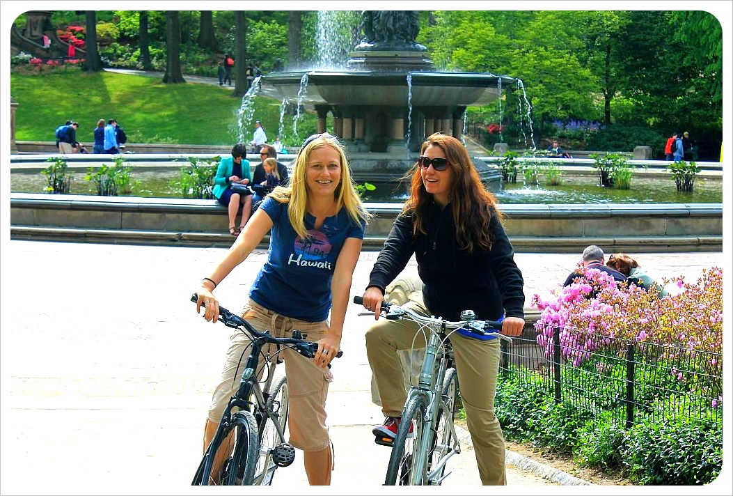dani and jess cycling in central park