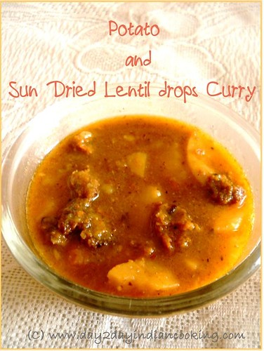 how to make potatoes and sundried lentil drops curry