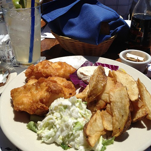 Fish and chips and a margarita = perfect lunch for a sunny day at the beach