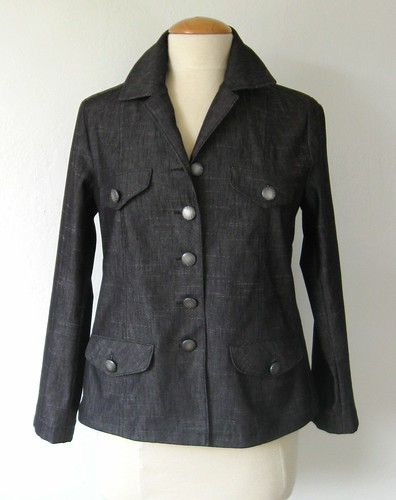 Denim jacket black with buttons finished front