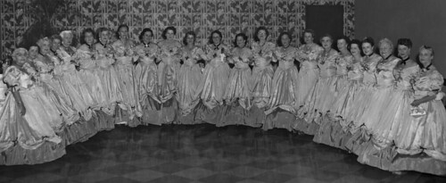 Montgomery, Alabama, Cotillion, Ladies in ante bellum hoop skirt gowns, likely late 1950s to mid 1960s