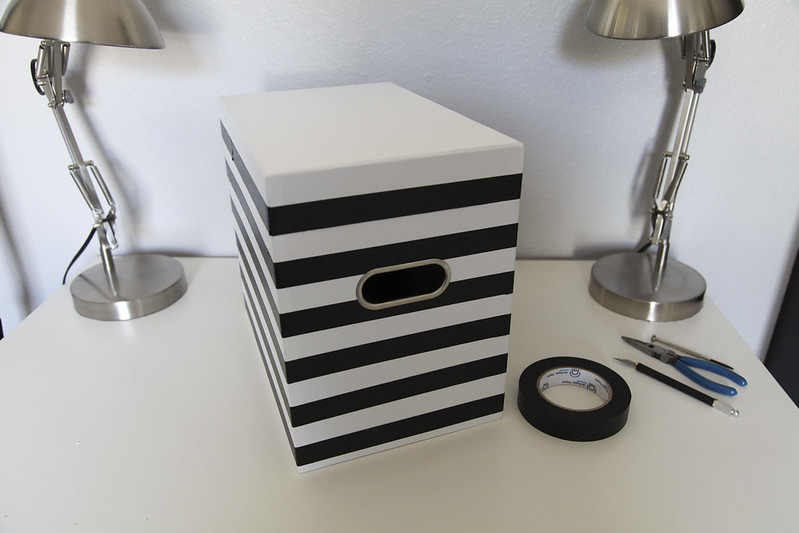 Black & White Striped File Box