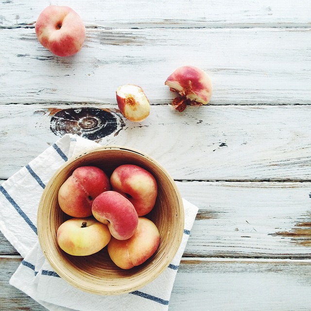 Doughnut peaches, because summer   • #eatfoodphotos Jan 24 | #two bites / Jan 25 | #yellow •